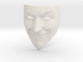 Guy Fawkes Mask in White Natural Versatile Plastic