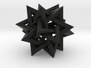 "Tetrahedron 5 Compound, 2.4"" diameter in Black Natural Versatile Plastic"