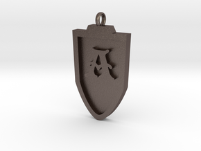 Medieval A Shield Pendant in Polished Bronzed Silver Steel