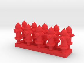 Fire Hydrant - Qty (10) HO 1:87 scale in Red Processed Versatile Plastic