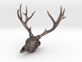 Deer Skull Pendant - 3DKitbash.com in Stainless Steel
