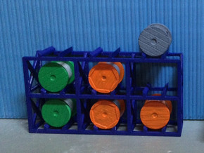 N Scale Cable Reel Storage + 6 reels in Frosted Ultra Detail