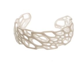 Bone Cuff in White Processed Versatile Plastic: Large