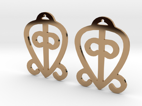 Adinkra Collection-Power Of Love Earrings (metals) in Polished Brass