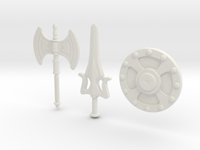 He-Man Weapons Bundle scaled for Minimates in White Natural Versatile Plastic
