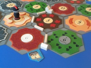 Catan Hex Tile Wheat 79mm in Full Color Sandstone