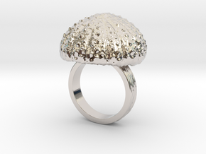 Urchin Statement Ring - US-Size 7 1/2 (17.75 mm) in Rhodium Plated Brass