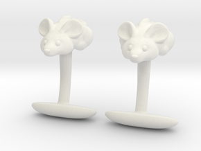 Mouse Cuff links  in White Natural Versatile Plastic