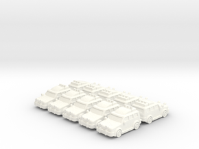 4x4 Cars (10 pcs) in White Strong & Flexible Polished