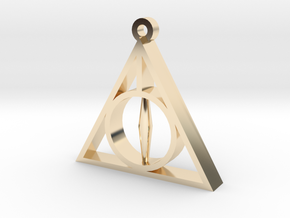 Deathly Hallows Pendant - Small - 5/8  in 14K Yellow Gold