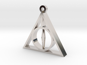 Deathly Hallows Pendant - Small - 5/8  in Rhodium Plated Brass