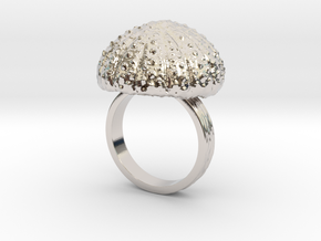 Urchin Statement Ring - US-Size 10 (19.84 mm) in Rhodium Plated Brass