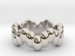 Biological Ring 33 - Italian Size 33 in Rhodium Plated Brass