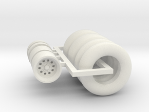 1:64 Weld Drag Stars 15x4 & 15x10 with Tires in White Natural Versatile Plastic