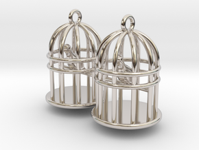 Bird Cage Earrings in Rhodium Plated Brass