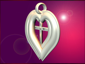 Twin Hearts with Crucifix pendant in White Natural Versatile Plastic