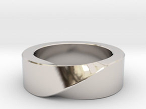 Mobius 1 Ring in Rhodium Plated Brass: 10 / 61.5