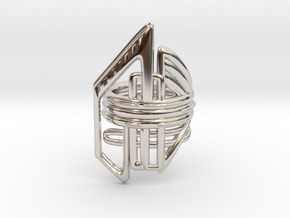 Balem's Ring2 - US-Size 7 (17.35 mm) in Rhodium Plated Brass