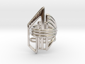 Balem's Ring2 - US-Size 3 1/2 (14.45 mm) in Rhodium Plated Brass