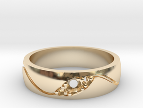 3 Stone Wedding Band in 14K Gold