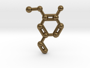 Vanillin (Vanilla) Molecule Necklace Keychain in Polished Bronze