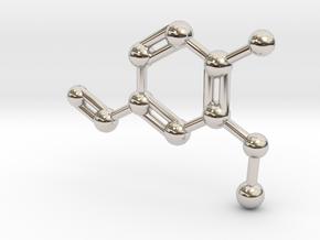 Vanillin Molecule Big (Vanilla) Necklace Pendant in Rhodium Plated Brass