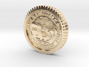 Bitcoin high detail in 14K Yellow Gold
