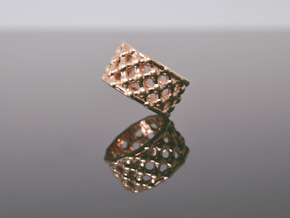 Gold Mesh Ring / Sterling Silver Mesh Ring in 14k Rose Gold Plated Brass