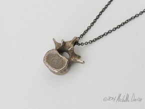 Anatomical Lumbar Vertebra Pendant in Polished Bronzed Silver Steel