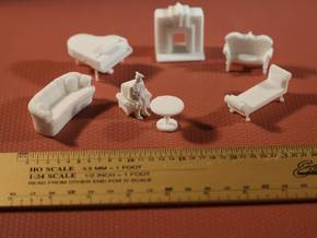 Living Room Stuff Collection 1 HO Scale in White Natural Versatile Plastic