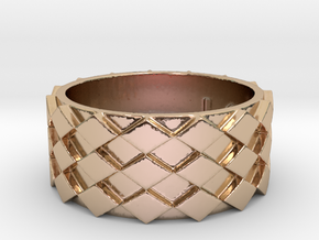 Futuristic Diamond Ring Size 10 in 14k Rose Gold Plated Brass