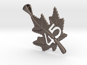 Canadian Maple Leaf Pendant in Polished Bronzed Silver Steel