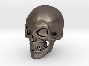 Skull Print in Polished Bronzed Silver Steel