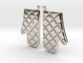 Oven Mitt Earrings in Rhodium Plated Brass