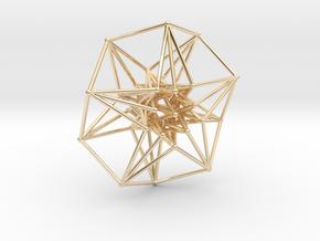 5 dimensional Toridal HyperCube 50mm 5D in 14k Gold Plated Brass