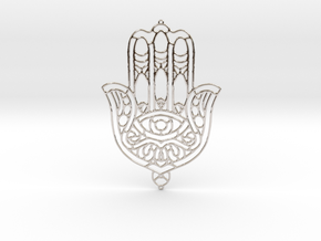 Khamsa (The Hand) in Rhodium Plated Brass