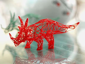 Styracosaurus Wireframe in Red Processed Versatile Plastic