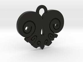 BoneHeart Pendant. in Black Natural Versatile Plastic