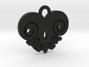 BoneHeart Pendant. in Black Strong & Flexible