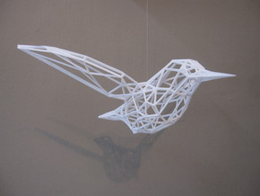 Humming Bird in White Natural Versatile Plastic