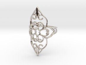 Bloom - size 6 in Rhodium Plated Brass