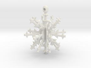 3D Snowflake Ornament in White Natural Versatile Plastic
