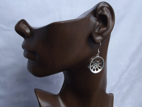 "Double Seconds ""void"" steelpan earrings, M in Polished Silver"