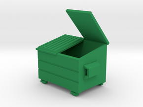 Dumpster Open Lid - HO 87:1 Scale in Green Processed Versatile Plastic