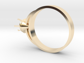 Design Ring Ø16.7 Mm For Diamond Ø5 Mm Futuristic  in 14k Gold Plated Brass