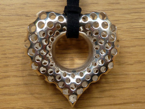Polyoptic Valentine Pendant in precious metals in Polished Silver