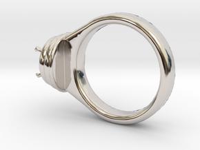 Alessa Design Ring Ø17.83mm  Ø8 Mm Diamond Fit in Rhodium Plated Brass