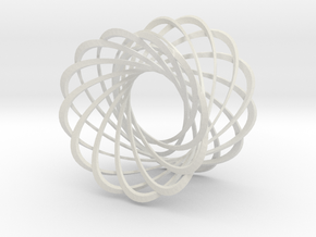 Mobius strips, 12 intertwined in White Strong & Flexible