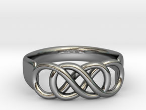 Double Infinity Ring 22.2mm V2 in Fine Detail Polished Silver