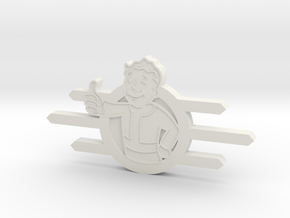 Fallout Vault-Tec badge with Fallout boy in White Strong & Flexible
